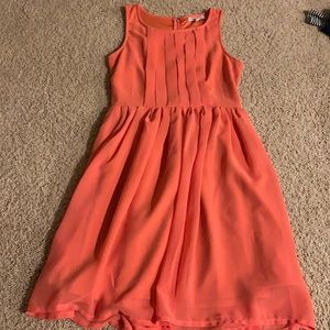 Coral fit and flare tank dress